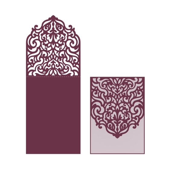 Wedding Invitation Pocket Envelope Halffold Card SVG Template - Laser cut wedding invitation templates