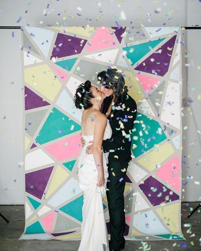 Stunning #mosaic #backdrop #confetti at this wedding #booth