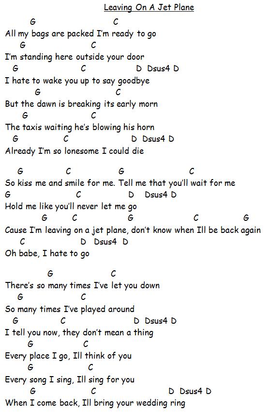 LEAVING ON A JET PLANE -- John Denver | Guitar Chords | Pinterest ...