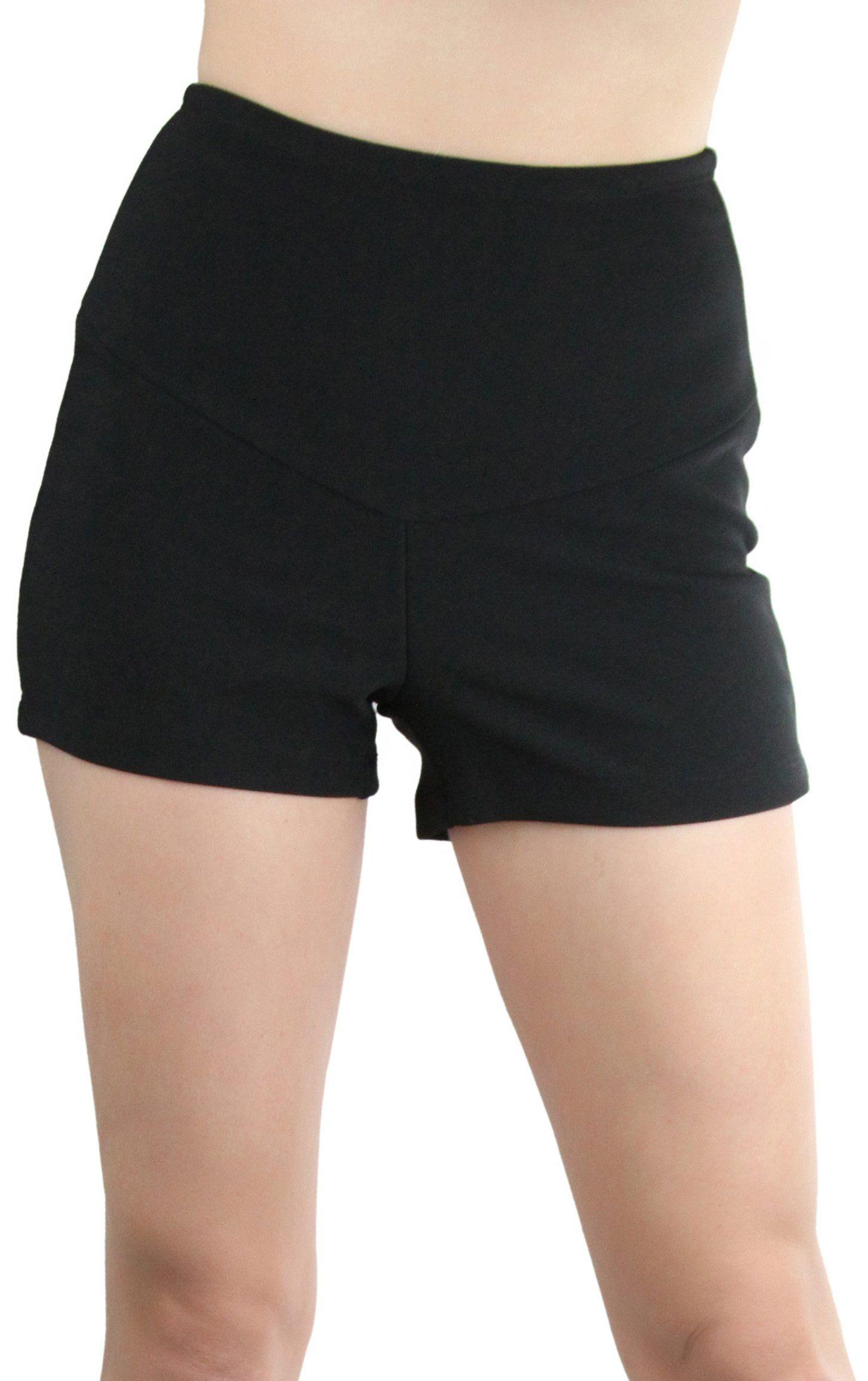 7ee9723600 ToBeInStyle Womens HighWaist Ottoman Hot Shorts Black Bluetape Large ...
