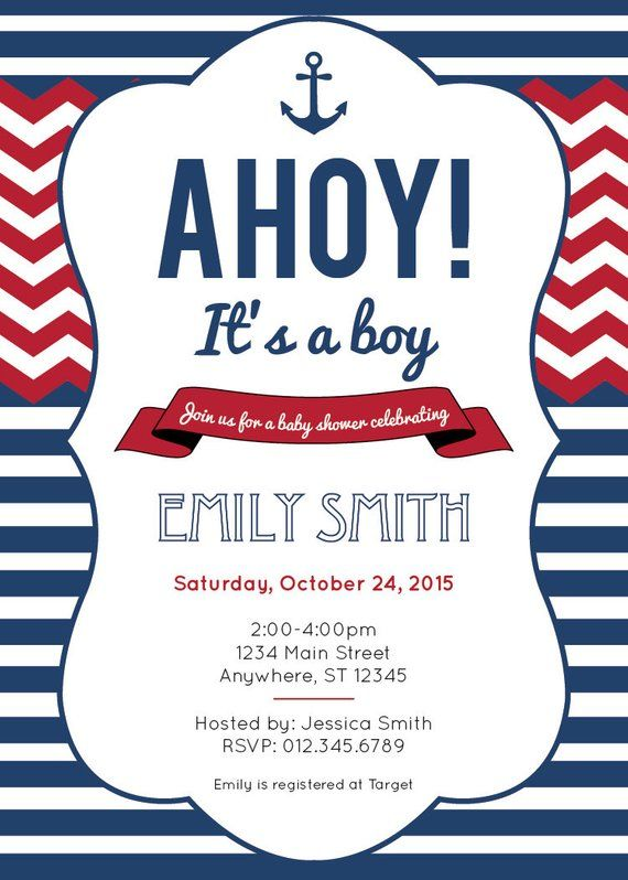 photo about Nautical Baby Shower Invitations Printable known as Nautical youngster shower invitation - printable Anchor chevron