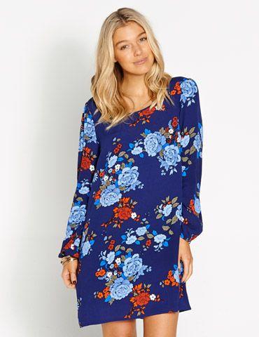 Evie Ruffle Waist Floral Dress | Dotti