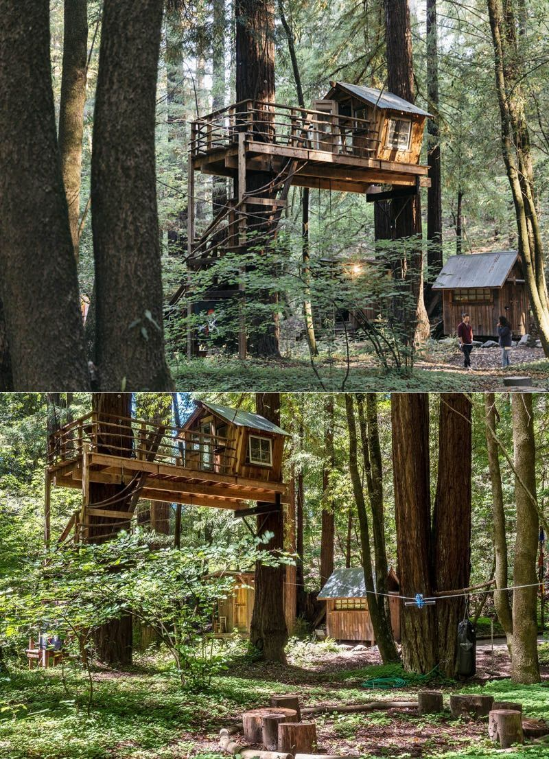 Located on the banks of Dutch Bill Creek, this 324-square-feet boho style tiny cabin takes benefit from its natural surroundings, and is perfect to spend some time away from the never-ending chaos of the city. #treehouse #treehousehotel #treehouseresort #getaway