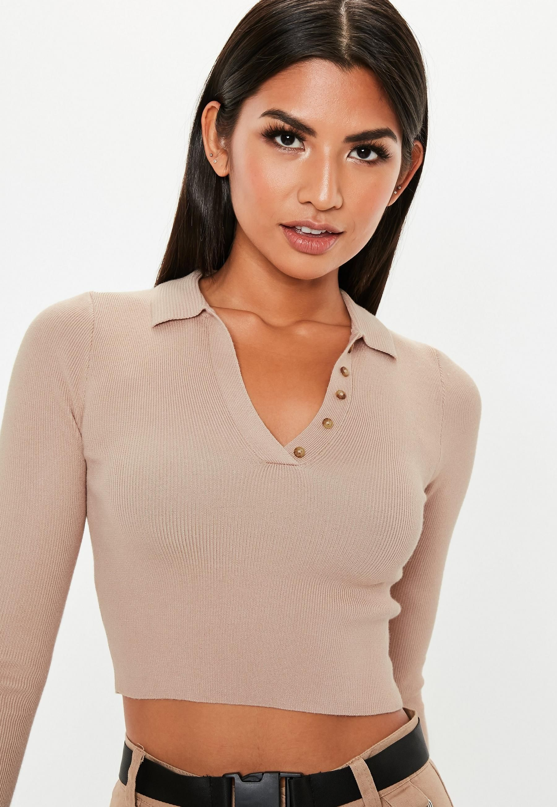 c605e1386b026 Missguided Tan Collared Button Knit Crop Top in 2019
