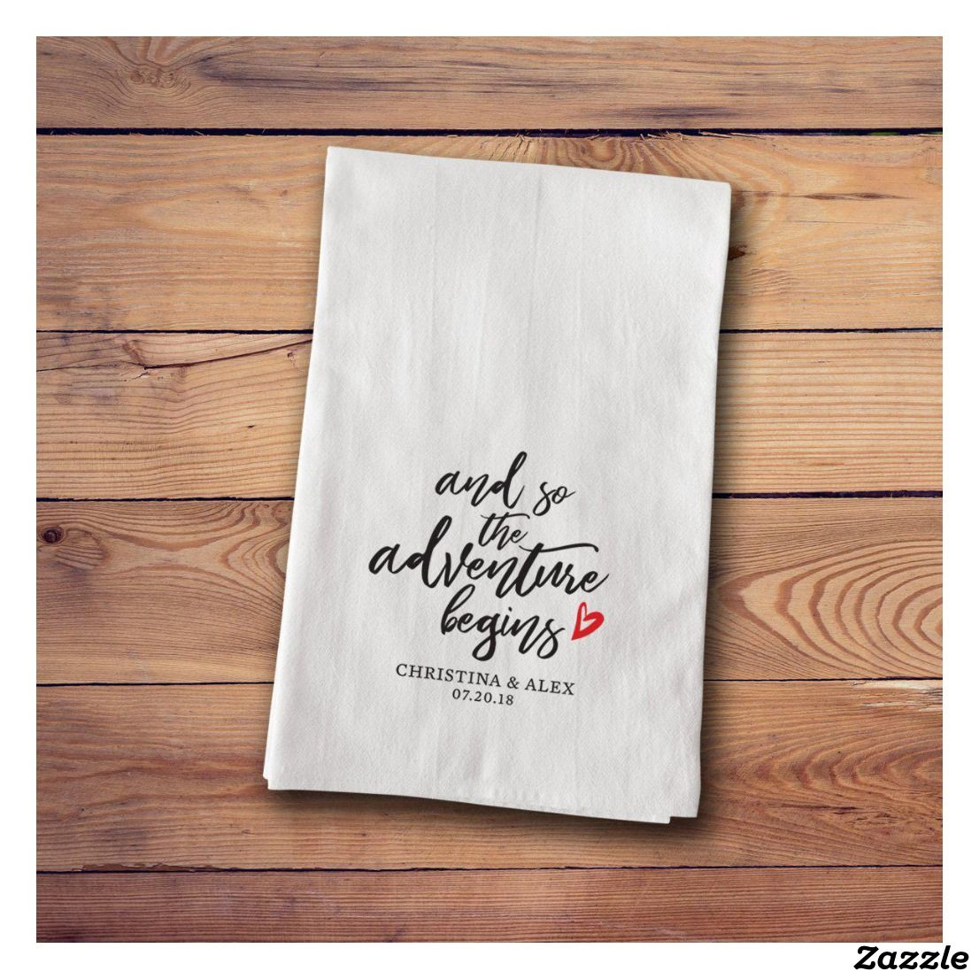 Embroidered Towels For Wedding Gift: Adventure Begins Embroidered Cotton Tea Towel