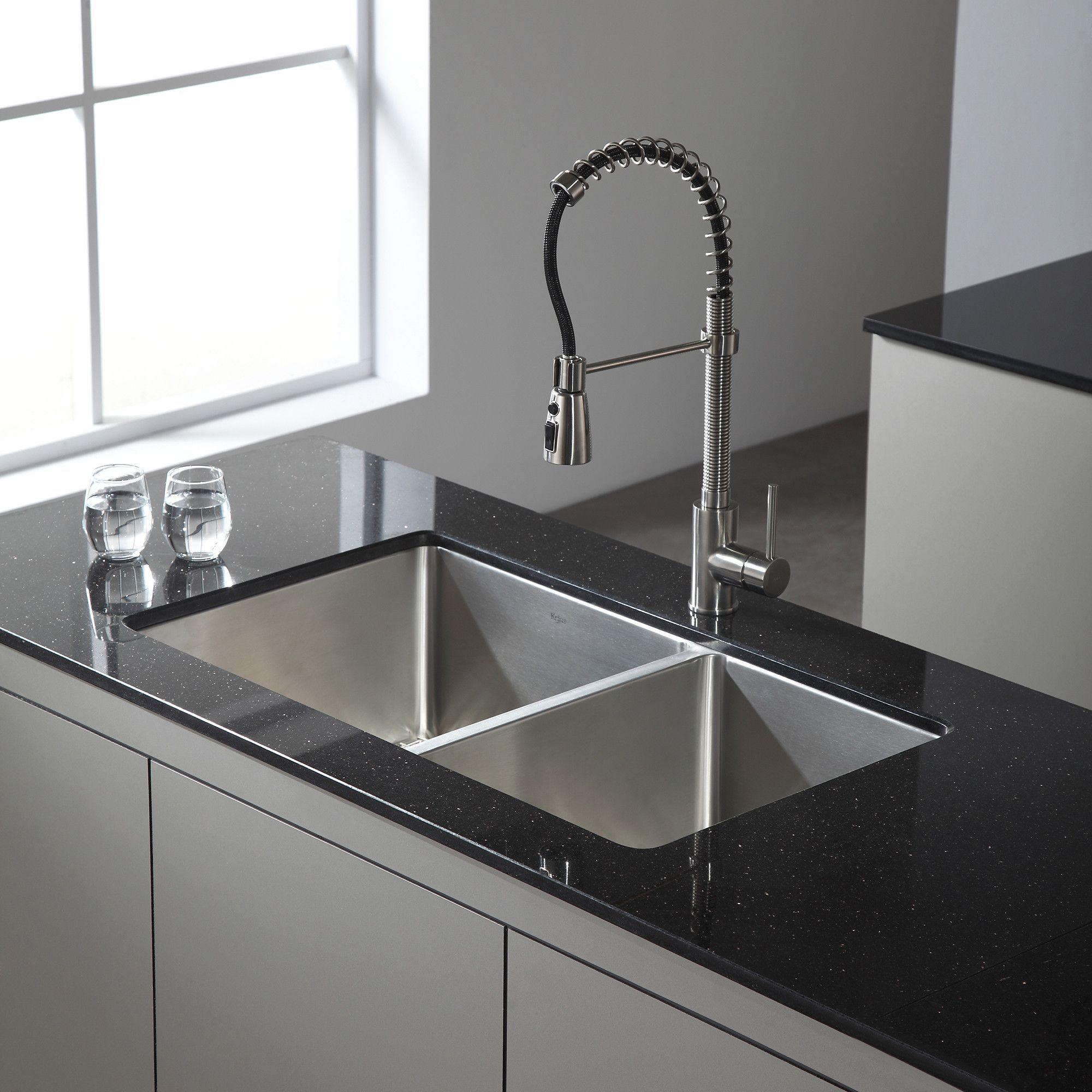 Standart 33 L X 19 W Double Basin Undermount Kitchen Sink With Drain Assembly Undermount Kitchen Sinks Kitchen Remodel Small Kitchen Faucet
