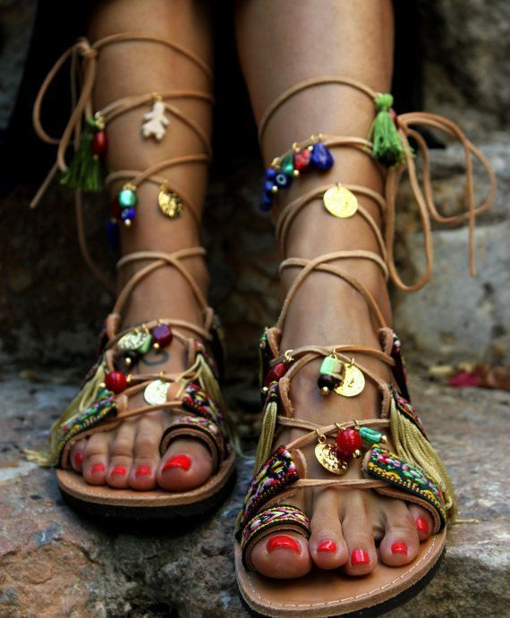 "nice Tendance Sandales : Tie Up Gladiator Sandals, Boho Hippie Women's Shoes, Greek Leather Sandals, ""Athena 2"""