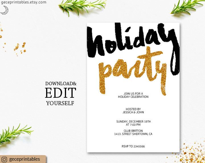 Gold Holiday Party Invitation Template printable gold glitter