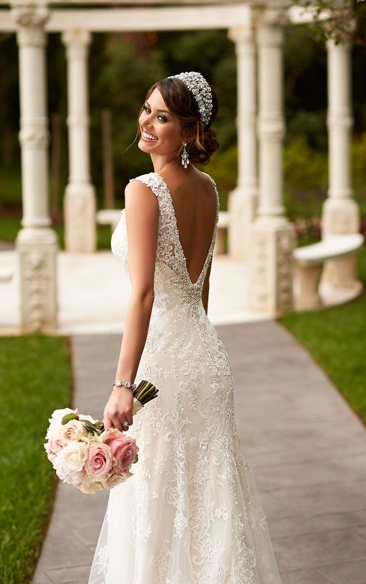 Fit and flare lace wedding dress  Open Back Sleeveless Lace Floor Length Romantic Fit and Flare