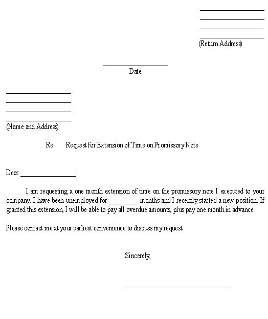 Sample Letter for Request for Extension of Time on Promissory Note - hold harmless agreements