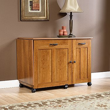 Drop Leaf Provides Extra Work Space For Sewing Or Crafts. Storage Behind  Roll Open