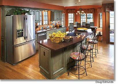 Antique Green Cabinets W Expresso Countertops