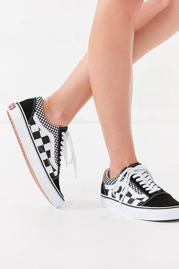 Vans Mix Checkerboard Old Skool Sneaker Outfit Shoes Vans Trendy Shoes