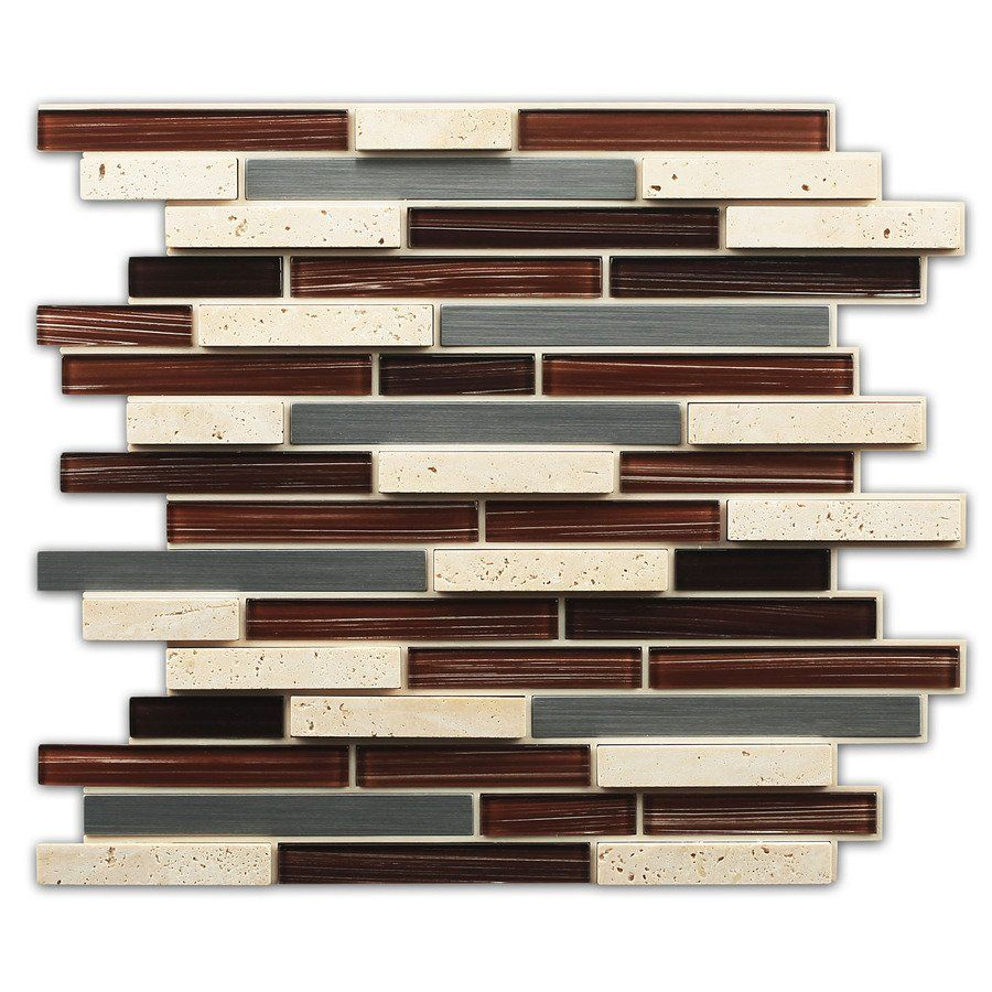 Instant Mosaic 12-in x 14-in Beige Stone and Stainless Mosaic Peel-and-Stick Wall Tile | Lowe's Canada