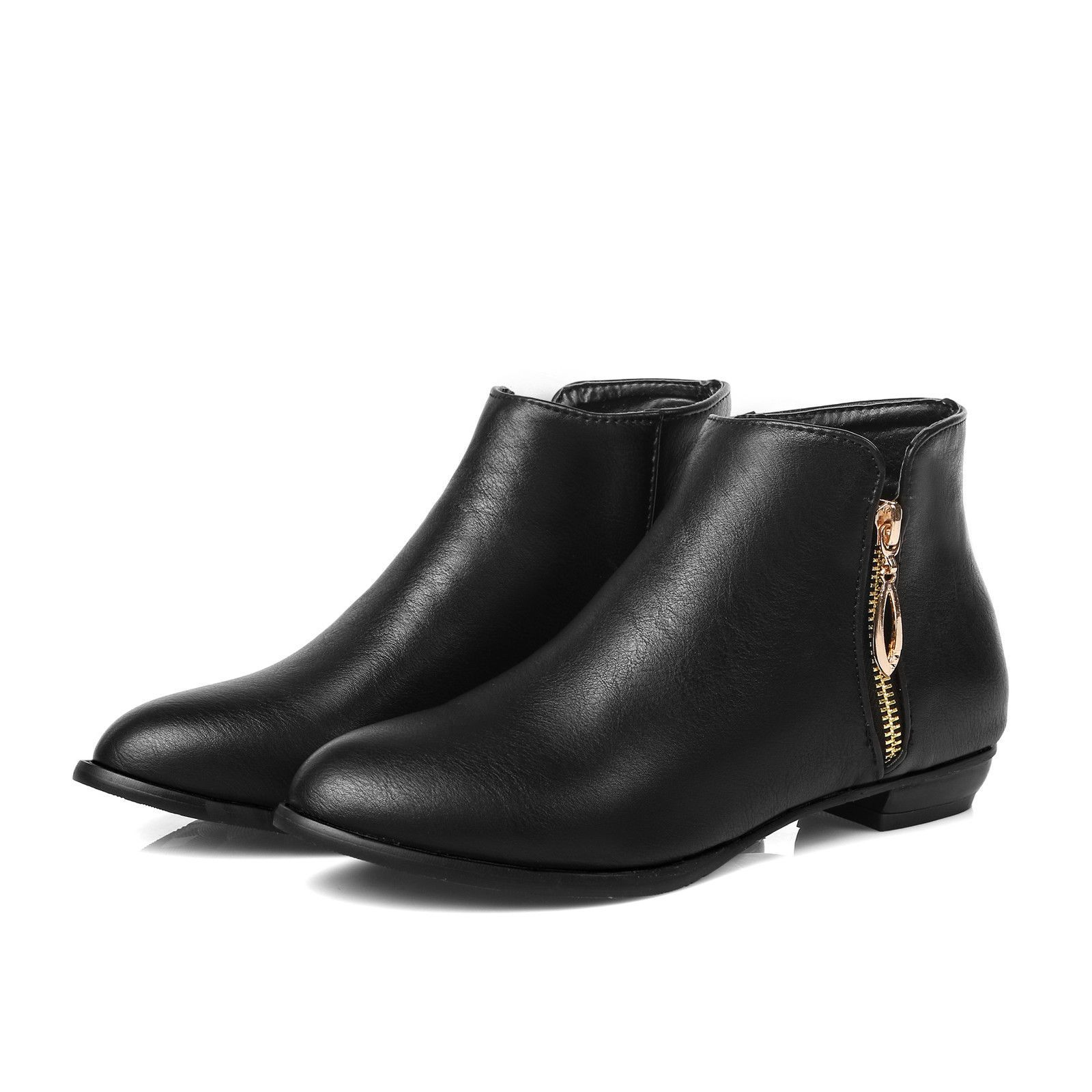 3bc0ec078373 Women Shoes Flat Heel Round Toe Chunky Heel Leather Zipper Up Casual Ankle  Boots. black ...