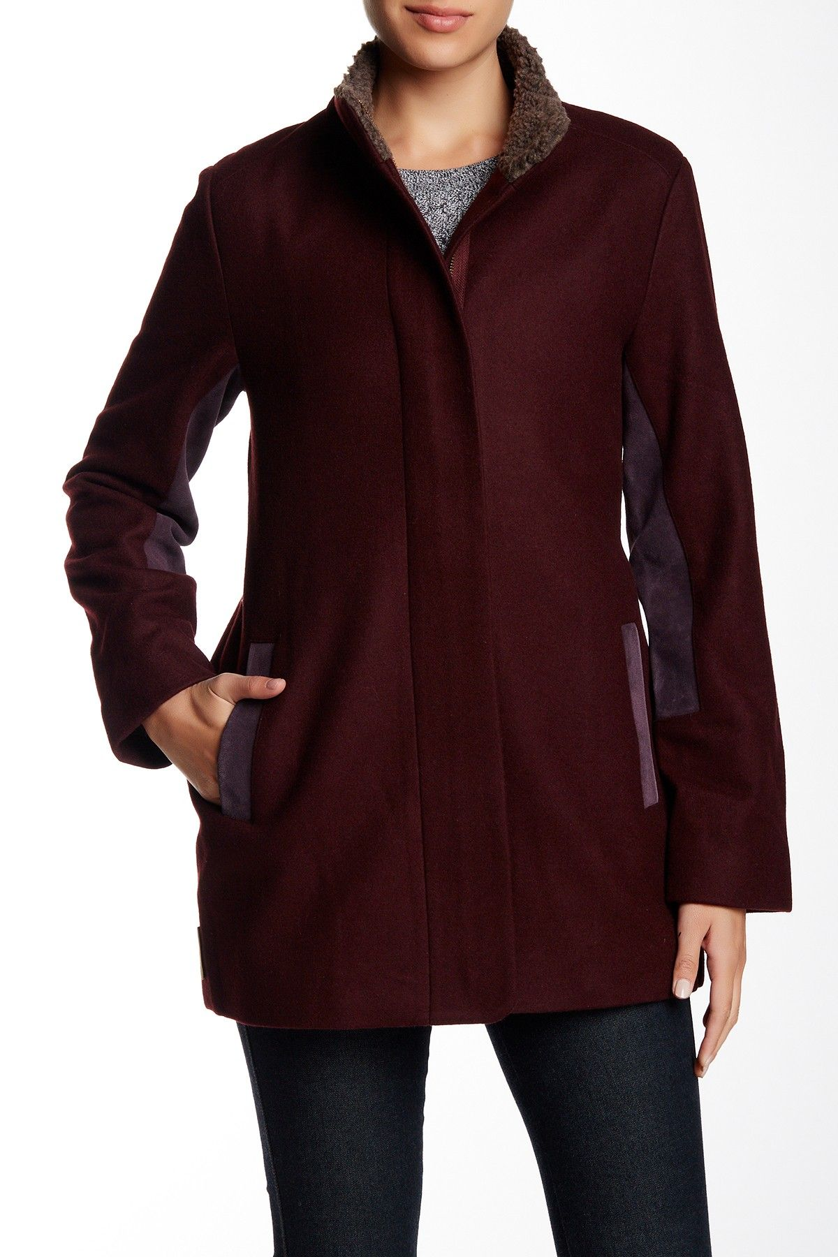 Shelley Faux Fur Trim Wool Blend Coat by UGG Australia on @nordstrom_rack