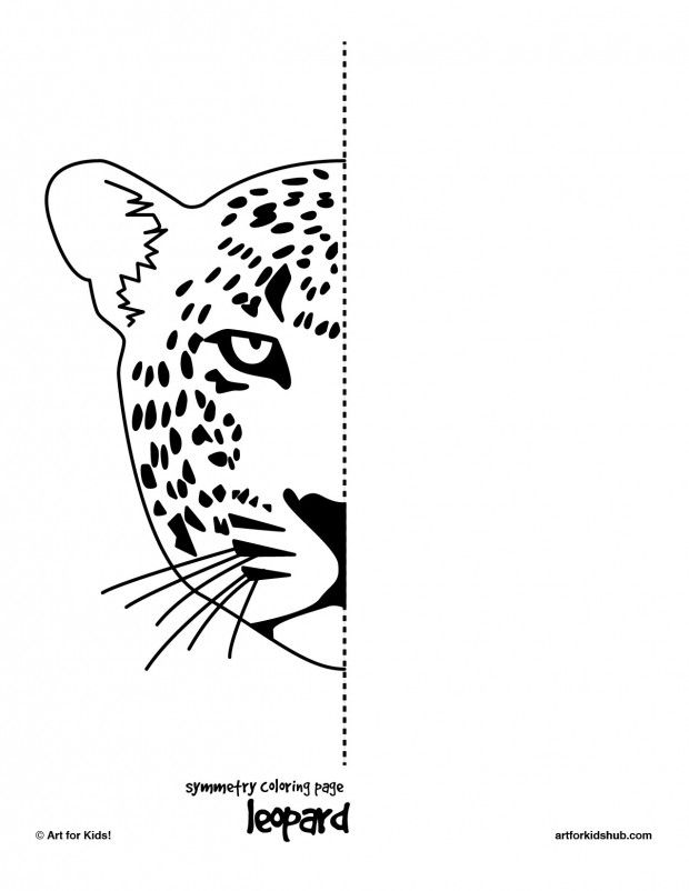 Symmetry sheets leopard, tiger, cougar, cheetah, cat Drawing and - copy coloring pages of tiger face