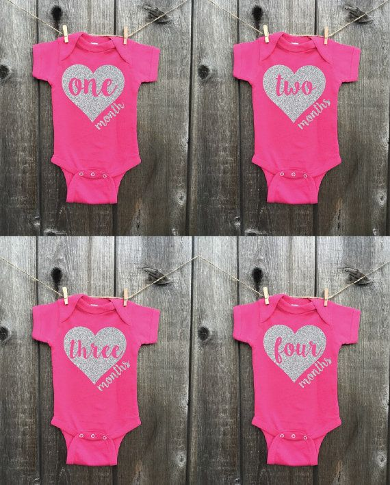 7b9d528df This listing is for a set of 12 onesies with 1-12 months printed directly  onto them in glitter. These are NOT stickers and will last throughout