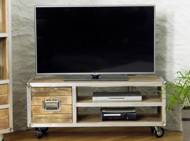 Boston Chic Widescreen One Door Television Cabinet   Boston Chic Reclaimed  Wood   Shop By Range