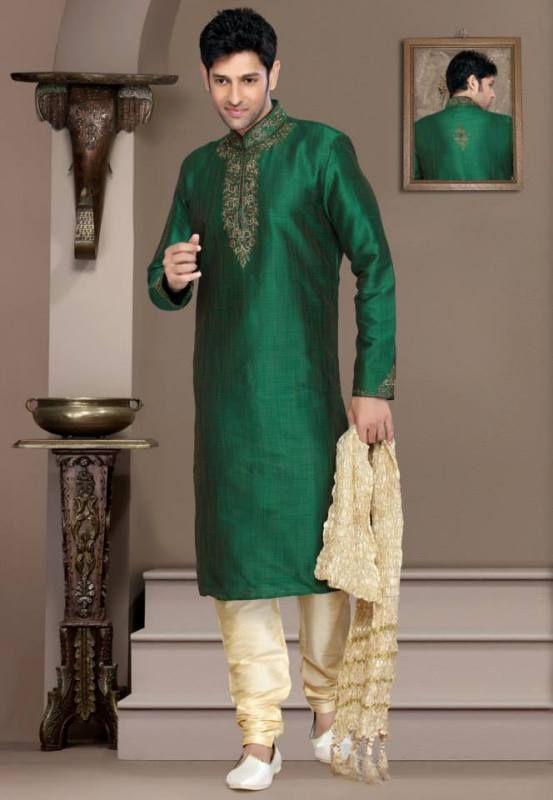 Cream jacquard Men Kurta with shawl and salwar payjama Wedding to Formal Wear