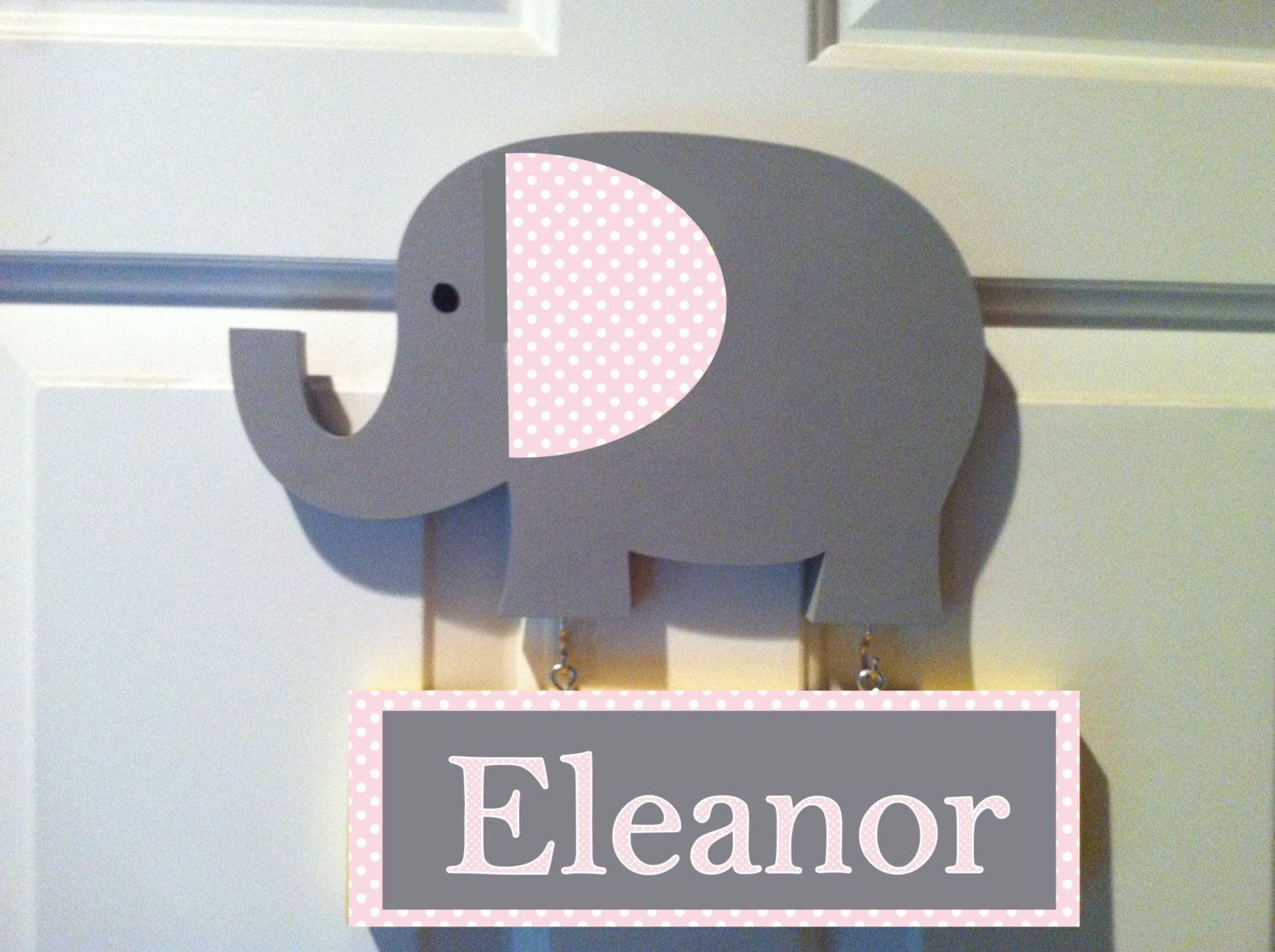 Elephant door sign personalized sign pink and gray elephant ...