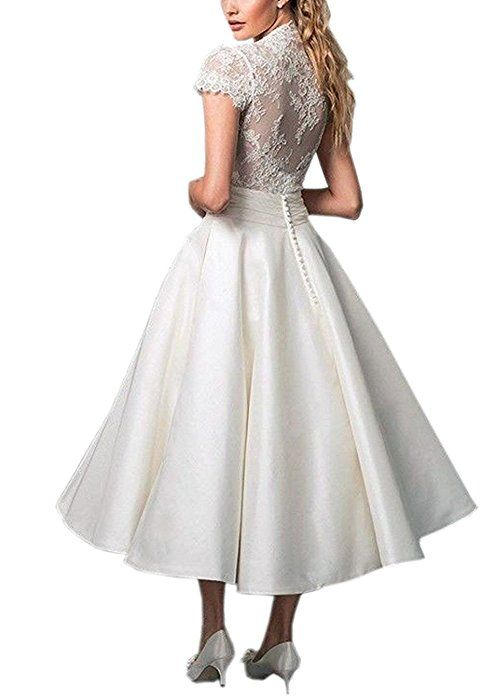 Cloverbridal V-Ausschnitt Kurze Spitzen Satin Hochzeitskleid ...