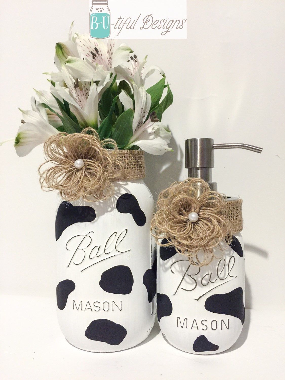 A personal favorite from my etsy shop https www etsy com listing 214886680 cow kitchen decor hand painted mason jar