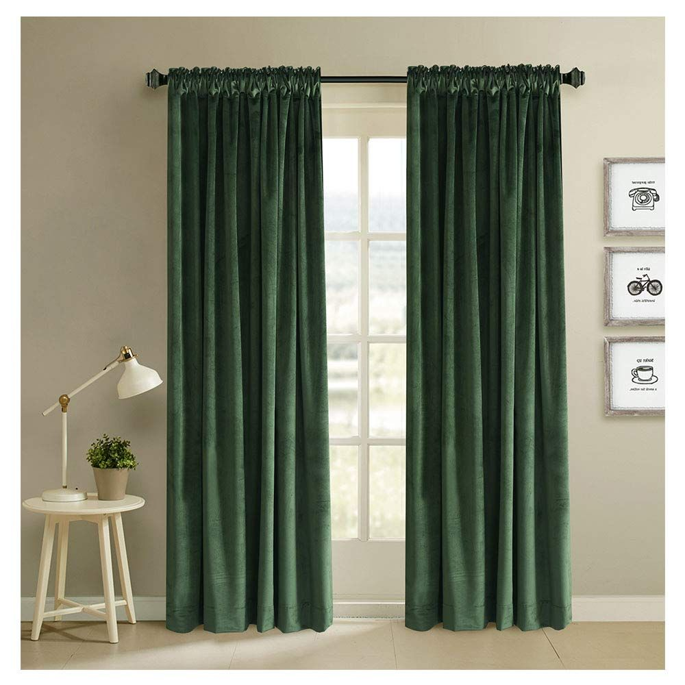 Amazon Com Blackout Velvet Curtains Rod Pocket Drapes Dark Green