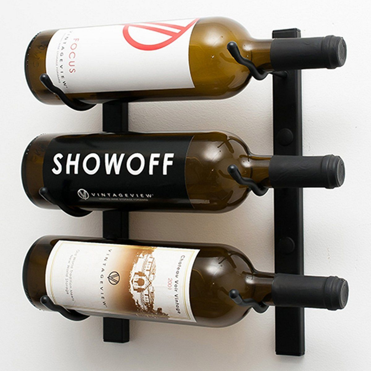 VintageView Wall Series 1 Foot Wine Rack (3 Bottle) (With
