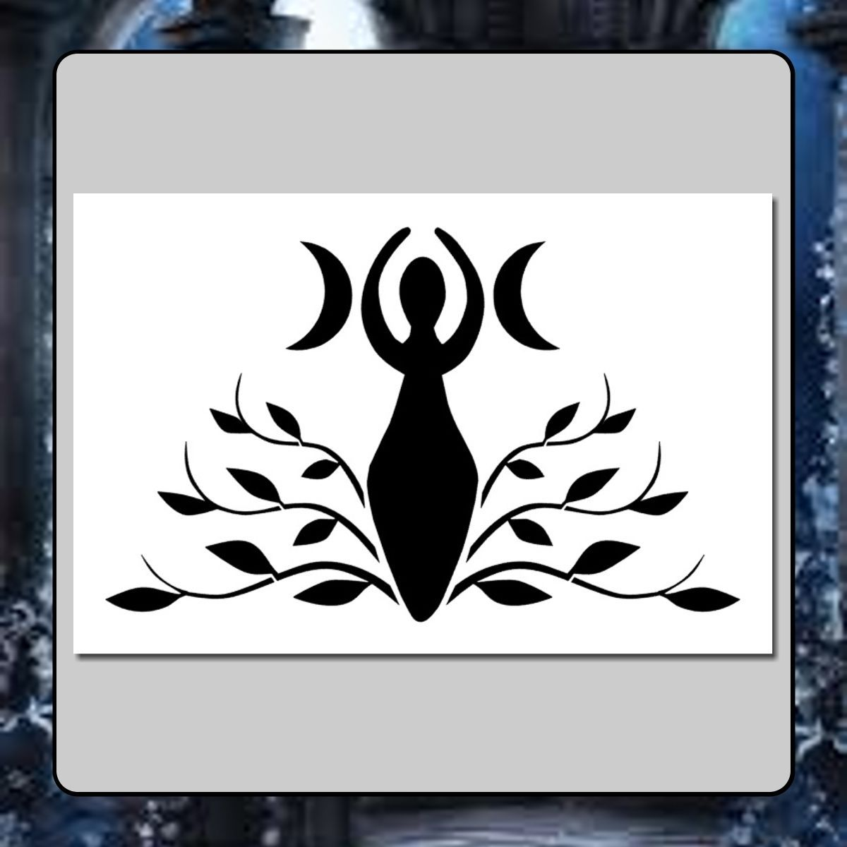 6 X 9 Wiccan Goddess Stencil Crecent Moonvinesleavesmother Earth