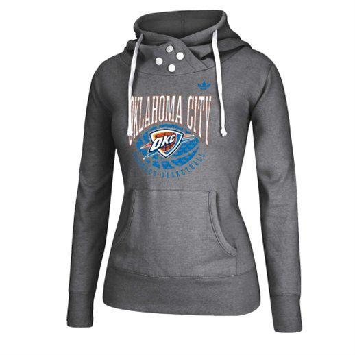 adidas Oklahoma City Thunder Women s Gray Pullover Hoodie 8738b99fa