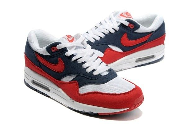 Nike Air Max 1 White Womens 87 Shoes Red, $75.44 | www.buynike.net