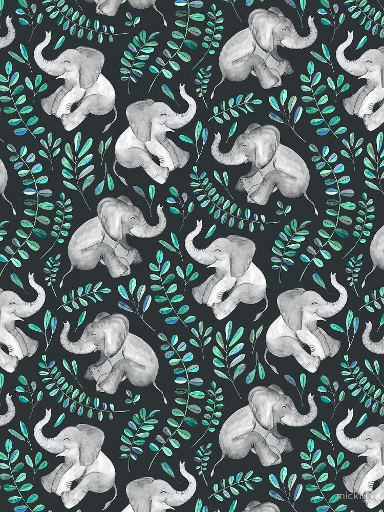 Laughing baby elephants emerald and turquoise de - Elephant background iphone ...