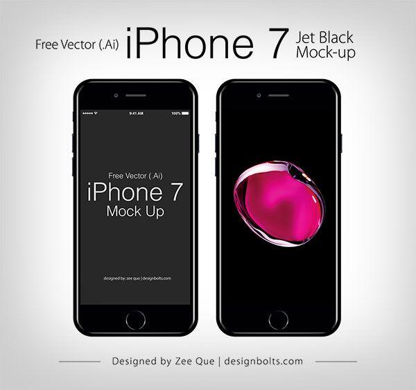 Free Vector Apple Iphone 7 Jet Black Mock Up In Ai Eps Format Iphone Iphone 7 Jet Black Apple Iphone
