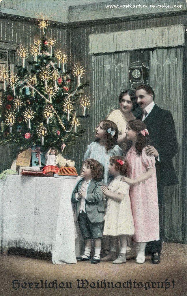 alte weihnachtskarten mit frauen m dchen familien. Black Bedroom Furniture Sets. Home Design Ideas