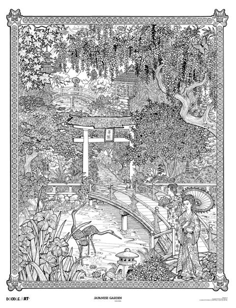 Japanese Garden Doodle: Doodle Art Poster | COLORING PAGES ...