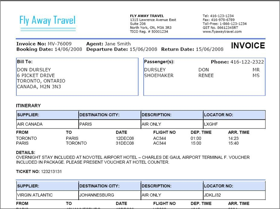 Travel Agency Invoice Format Excel  Sample Invoice Excel