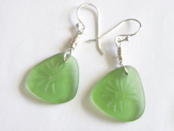 Engraved sea glass earrings daisy sea glass by EJMDesigns on Etsy