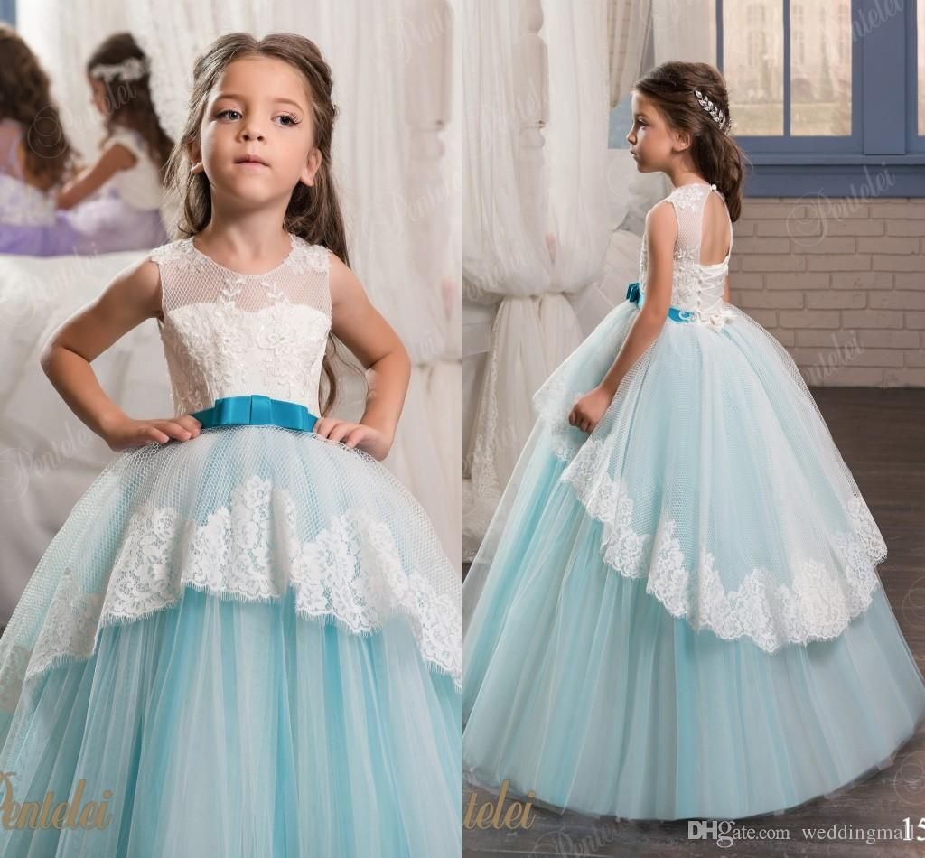 Princess Floral Lace Arabic 2017 Flower Girl Dresses Vintage Ball ...