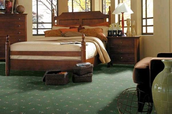 Green Carpeting Bedroom Decoration Guest Room