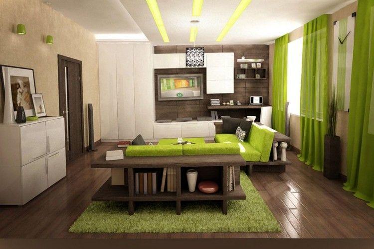 dunkler Holzboden, weiße Schränke und grüne Akzente Home Decor - wohnzimmer in braun und grun