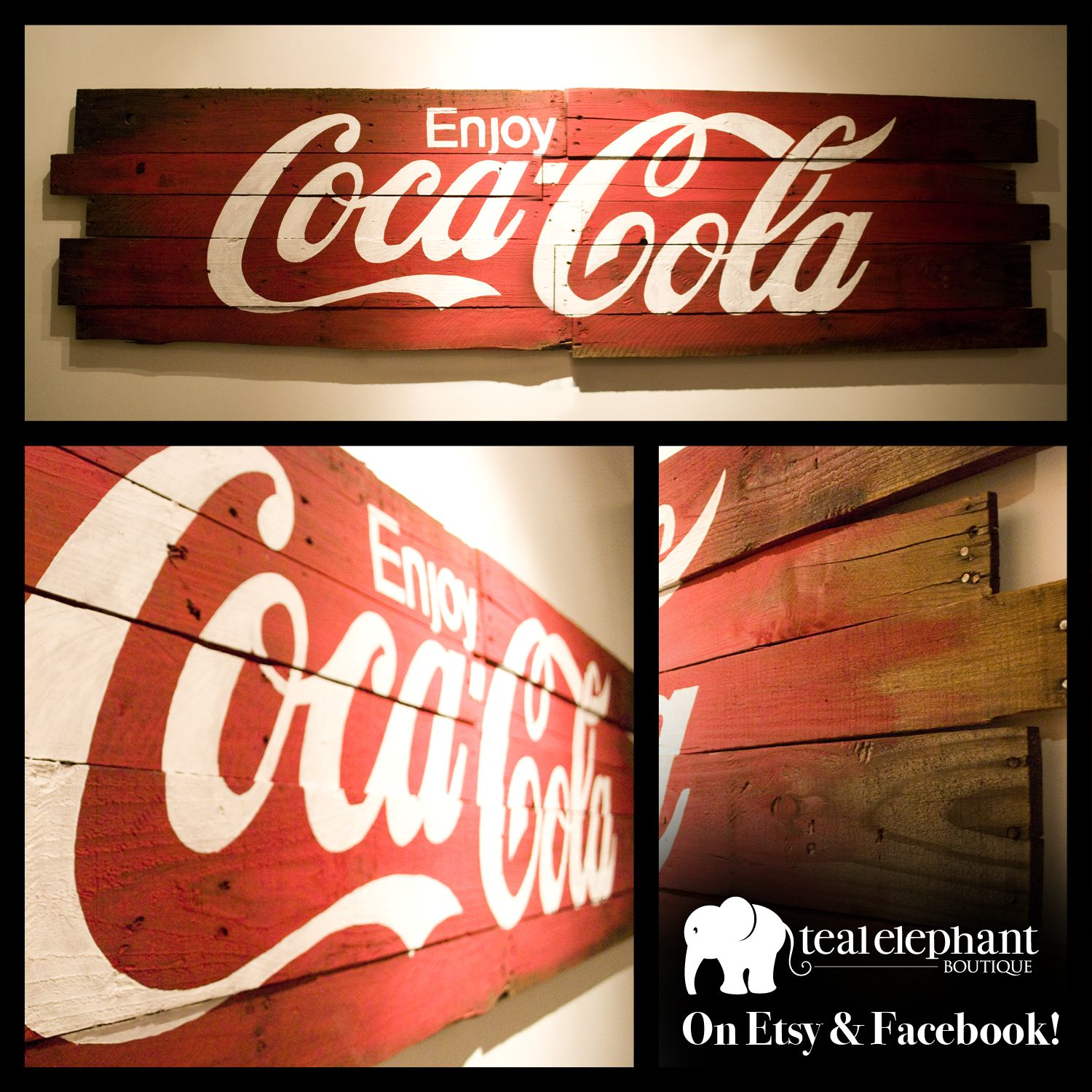 "Coca Cola Quotes Custom Pallet Art Enjoy Cocacola 80""x20"" Createdwww.etsy"