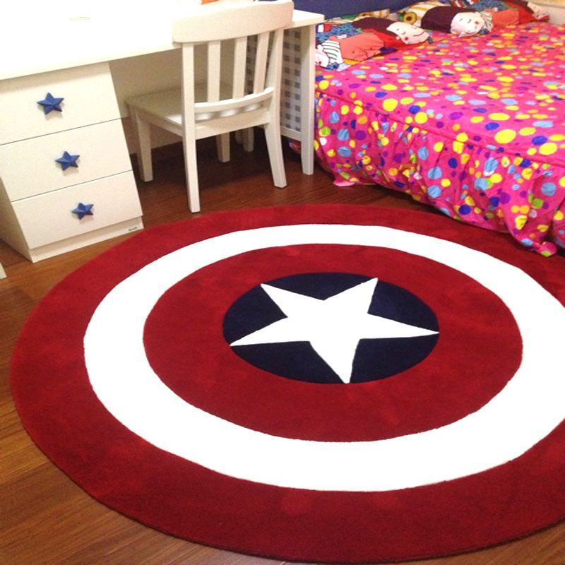 Captain America Round Rug Superhero Room Marvel Room