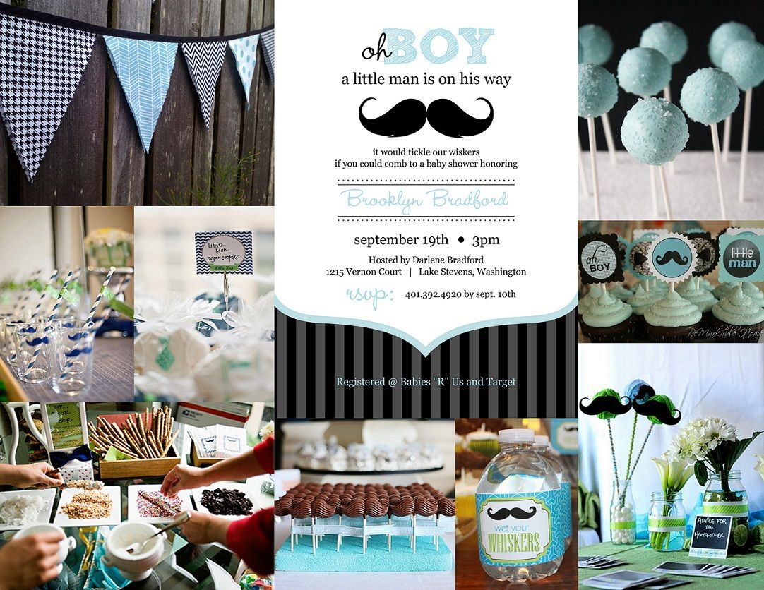 baby shower invitations for boys | Baby Boy Shower Mustache Bash ...