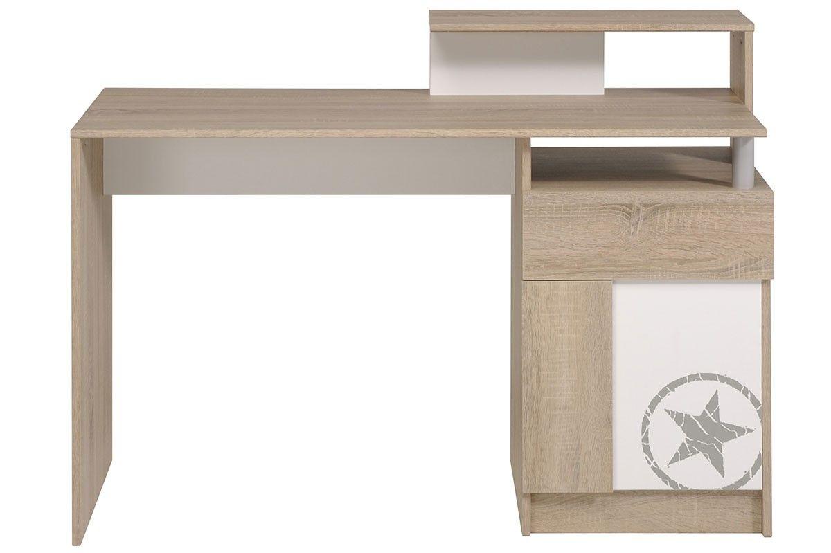 Bureau adolescent porte tiroir chêne brut et blanc athletics
