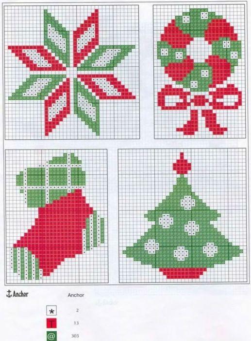 Рождественские Носки Схемы Для Вышивки Крестом