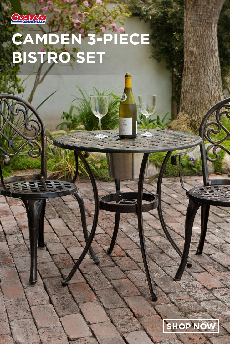 Camden 3 Piece Bistro Set With Built In Ice Bucket Outdoor