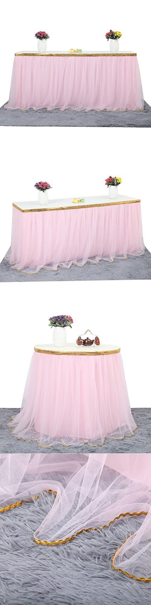 Unicorn party decoration 6 ft Pink Table Skirt Gold Trim Mesh Tutu Tulle Table Skirt for Rectangle or Round Tables Baby Shower Wedding Birthday Party Decorations