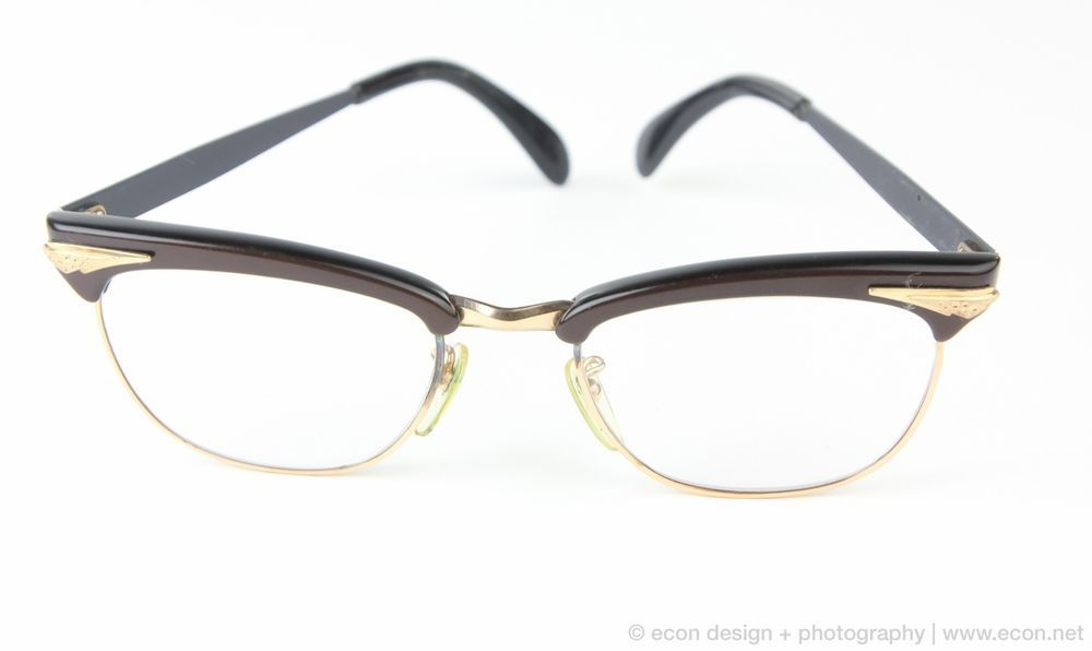 WOMENS VINTAGE GOLD & BLACK FANCY CATS-EYE EYEGLASS FRAMES GLASSES ...