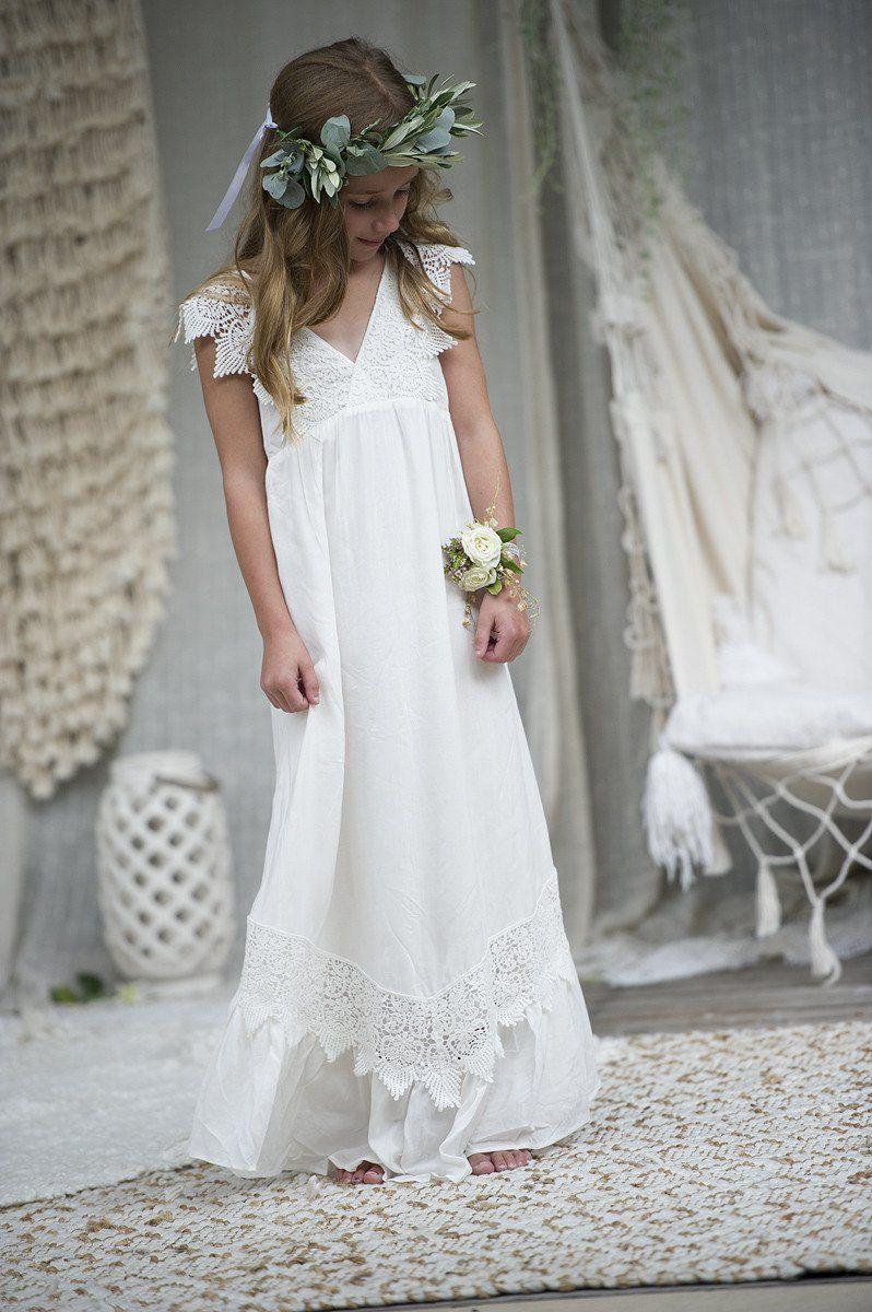 Wren Maxi Dress Off white/ Ivory Flower girl dresses